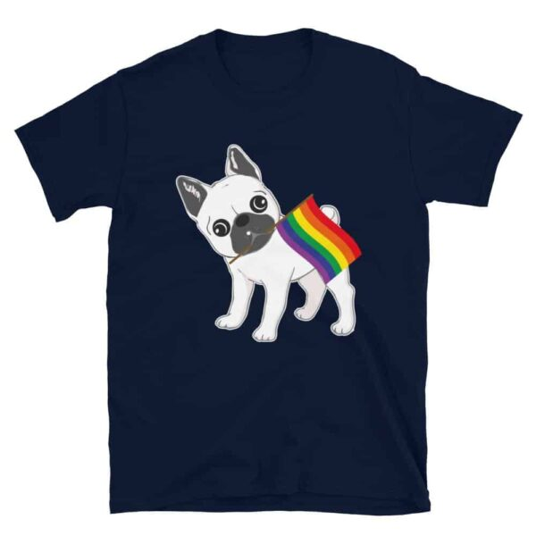 Gay Pride French Bulldog Rainbow Flag Tshirt