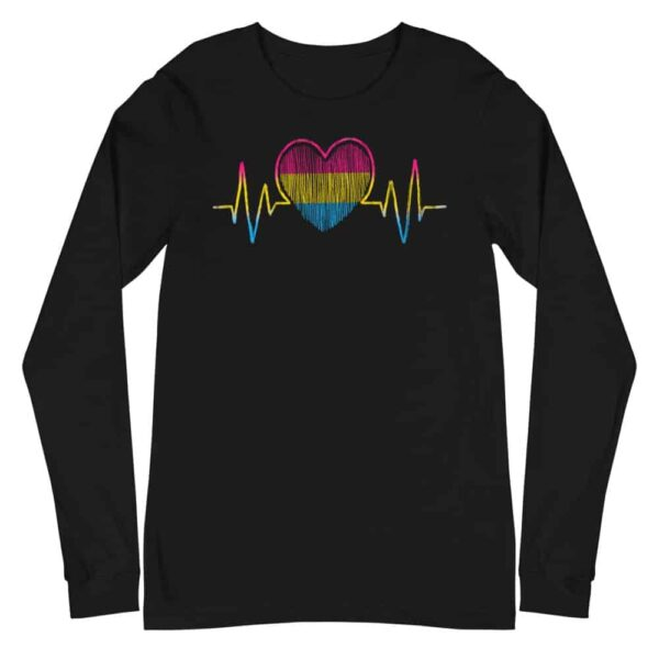 Heartbeat Pansexual Flag Pride Long Sleeve Tshirt