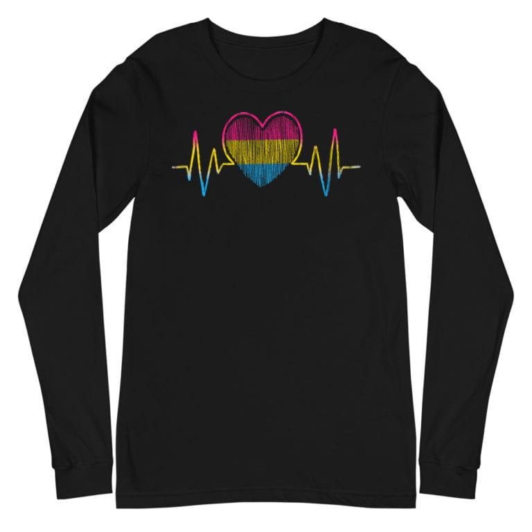 Heartbeat Pansexual Flag Pride Long Sleeve Tshirt