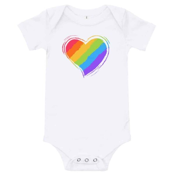 Rainbow Heart Baby Bodysuit One piece blue