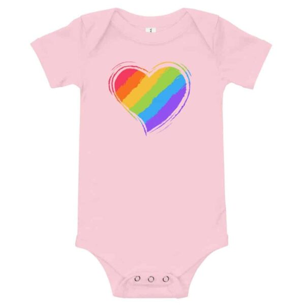 Rainbow Heart Baby Bodysuit One piece pink