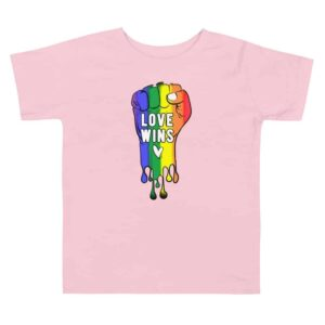 Love Wins LGBTQ Pride Toddler Tshirt Pink