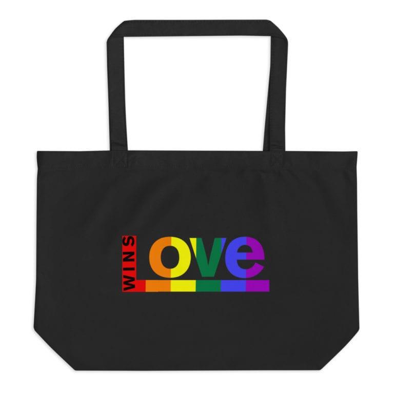 Love Wins! LGBTQ Pride Tote Bag Black