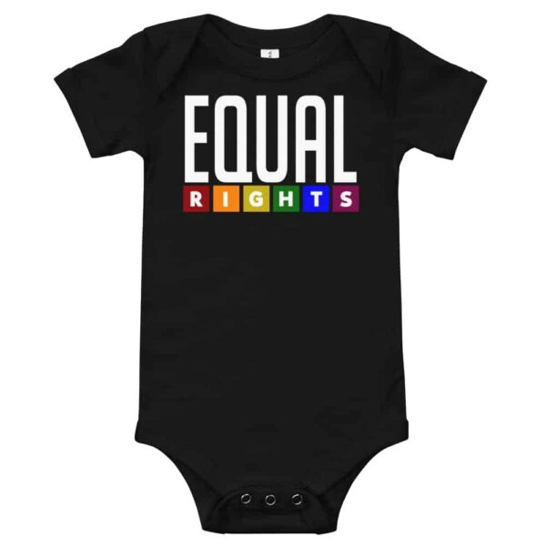 Equal Rights LGBTQ Pride One Piece Baby Bodysuit Black