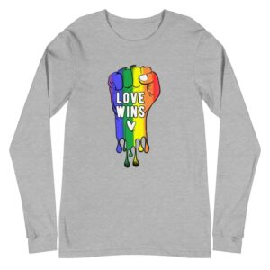 Love Wins Rainbow Pride Long Sleeve Tshirt Grey