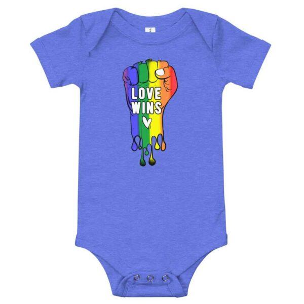 Love Wins Baby Bodysuit Onepiece Blue