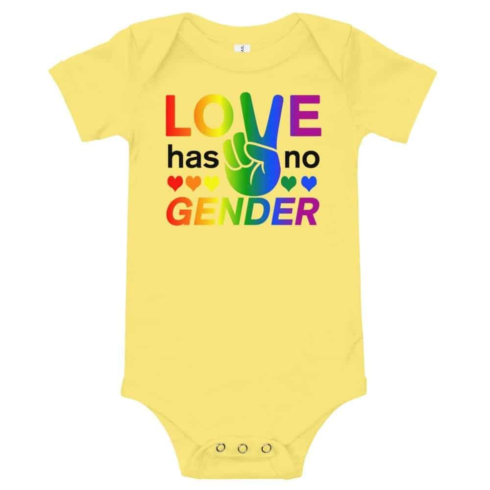 Love Has No Gender Onepiece Baby Bodysuit Yellow