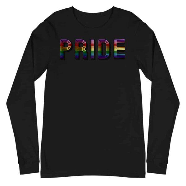 Retro PRIDE LGBTQ Long Sleeve Tshirt Black