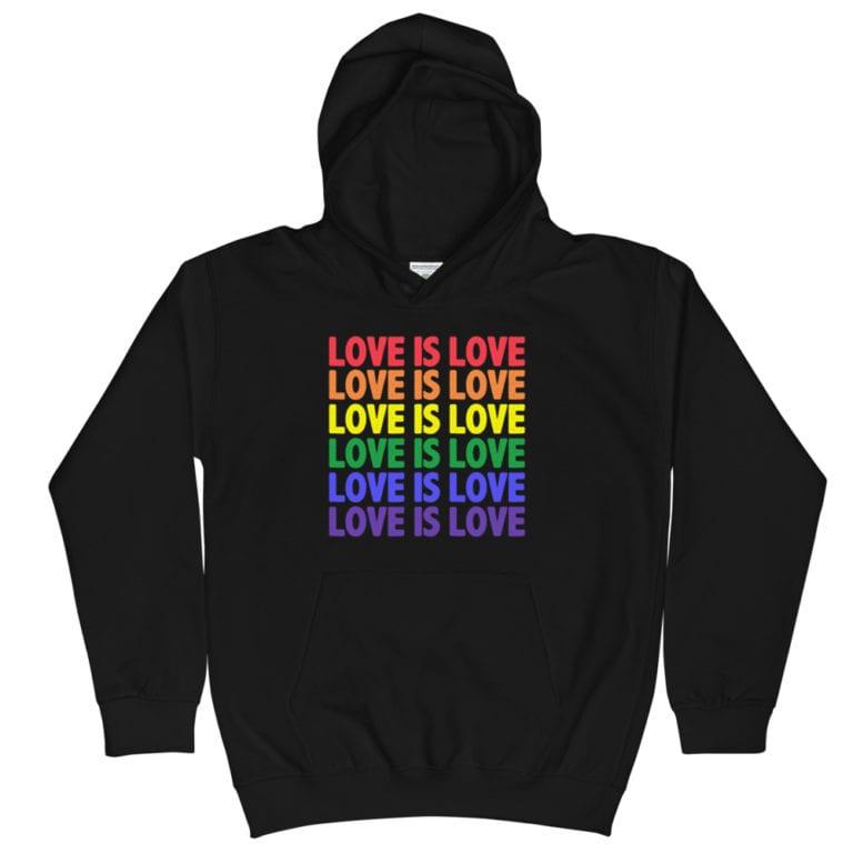 Love is Love Multi Kids Hoodie Black