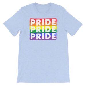 PRIDE PRIDE PRIDE LGBTQ Tshirt Light Blue