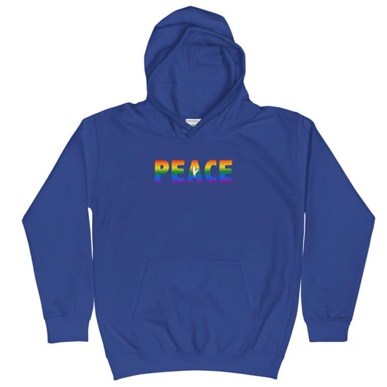 PEACE Rainbow Kid Hoodie blue