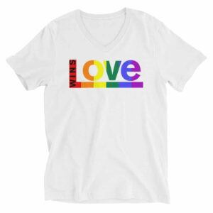 Love Wins Pride Vneck Tshirt White