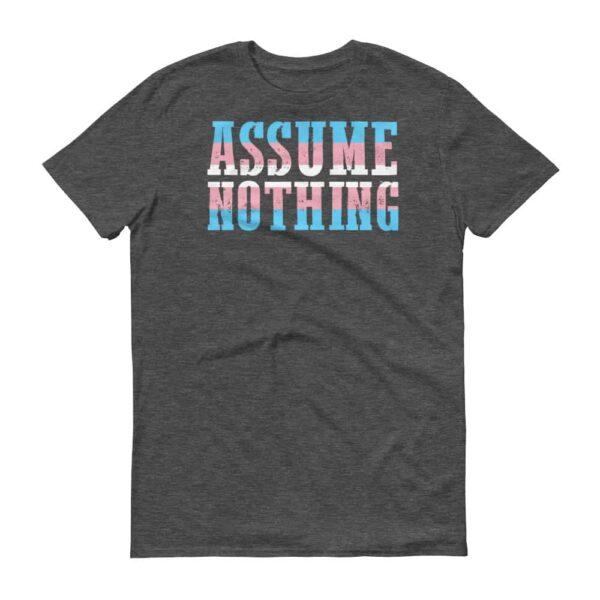 Assume Nothing Transgender Pride Short Sleeve Tshirt Dark Grey