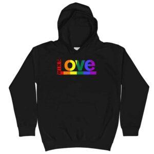 Retro Pride LGBTQ Kid Hoodie Black