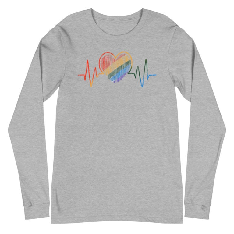 LGBTQ Heartbeat Gay Pride Long Sleeve Tshirt